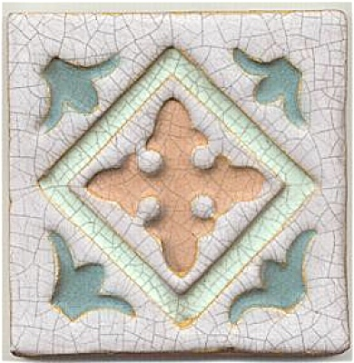 Wheatley faience carved multicolor tile (Image1)