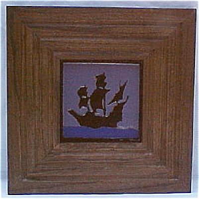 Franklin Tile Co. Framed Ship Tile - Rare Purple Glaze