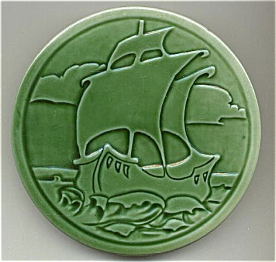 Round Galleon / Sailing Ship Tile Majolica Glaze