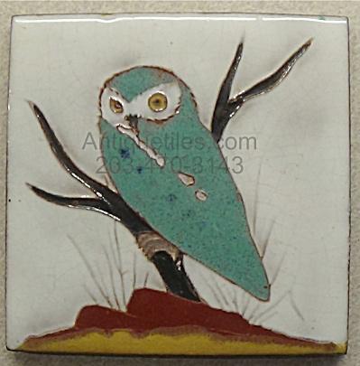 Gaskins Gila Arts Tile ~ Burrowing Owl on Low Branch (Image1)