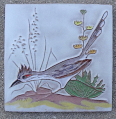 Mckusick / Gila Pottery Roadrunner Tile - 4 inch (Image1)