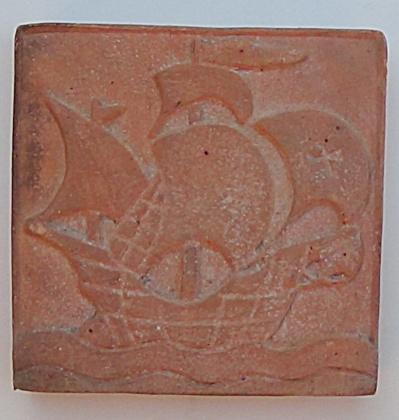 "Enfield Pottery Sailing Ship Tile Unglazed 4"" (Image1)"