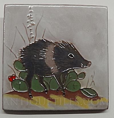 4 inch Javelina Gila Pottery McKusick Tile (Image1)