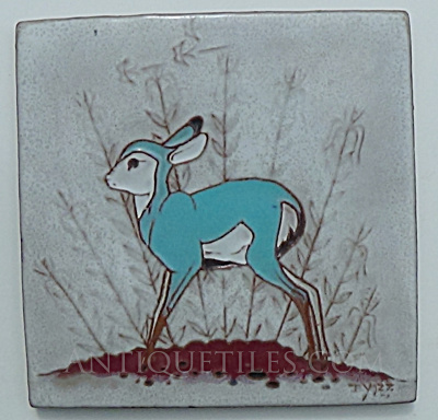 6 inch Beatien Yazz Blue Fawn Tile Gila Pottery (Image1)