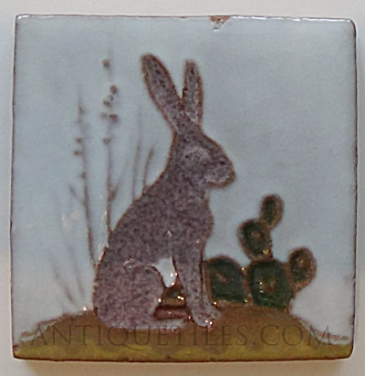 3 Inch Jack Rabbit Tile - Gila Pottery Globe Arizona (Image1)