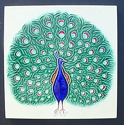 6 inch Peacock Tile - Marked, Made in Japan (Image1)