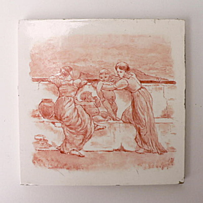 Antique Picture Tile Women and Babies (Image1)