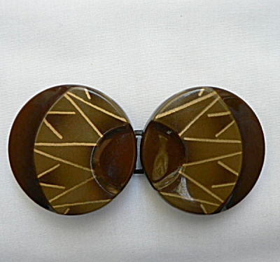 Vintage Art Deco Celluloid Belt Buckle - Browns (Image1)