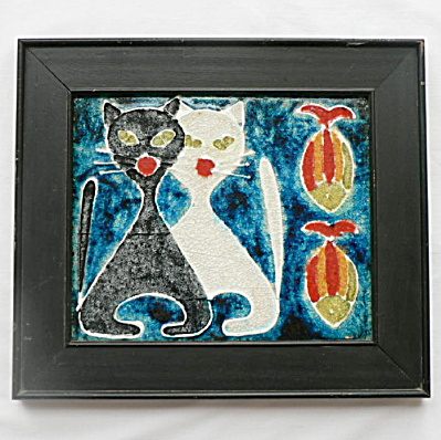 Danish Modern Tile - Two Cats and Fish (Image1)