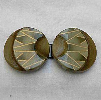 Vintage Art Deco Celluloid Belt Buckle - Greens (Image1)