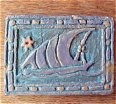 Galleon Ship Tile Signed Underhill