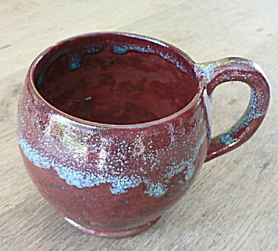 Chinese Blue Mug - W/lots Of Red