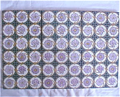 Antique Mintons China Works Tile Set - nice colors (Image1)