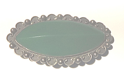 Sterling Silver Mexican Broach With Green Jade Stone