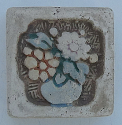 "2"" Claycraft Tile ~ Small Vase of Flowers (Image1)"