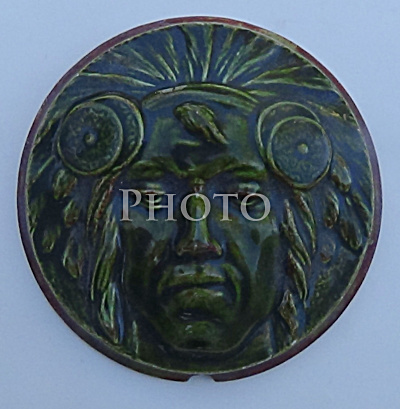 Stove Tile Native American In Headdress 3-1/2 Inch