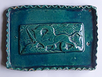 Large Cat Slaying Dragon Turquoise Tray