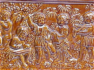 Antique German Stove Tile Panel with Musical Cherubs (Image1)