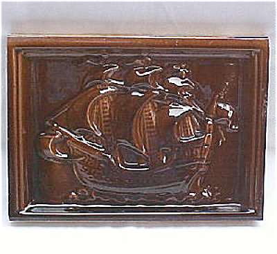Antique Stove Tile  - Sailing Ship with Majolica Glaze (Image1)