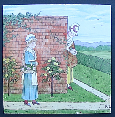 Hand Painted Minton Tile - Woman Picking Roses Garden (Image1)
