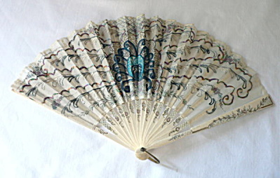 Vintage Victorian White Embroidered Fan