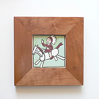 Vintage Rocking Horse & Boy Tile by Mosaic Tile Company (Image1)