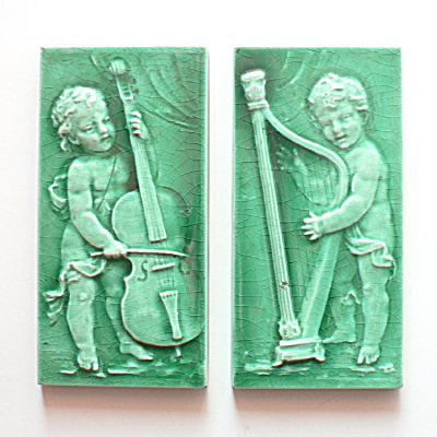 Cupids Playing Cello & Harp – Antique Tile Pair  (Image1)