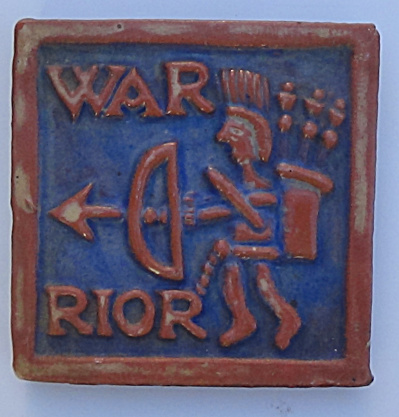 4 Inch Moravain Pottery Warrior Tile 1975