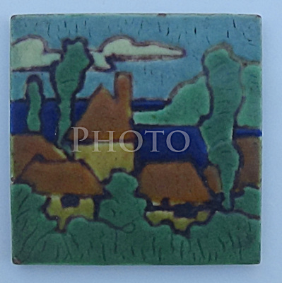 4 Inch C. Pardee Tile Village in Wooded Area (Image1)