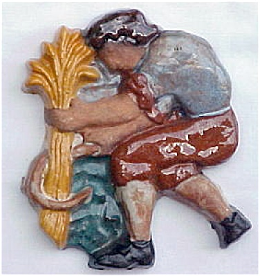 Moravian Brocade Tile Man With Wheat And Scythe