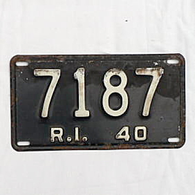 1940 Rhode Island License Plate #7187 (Image1)