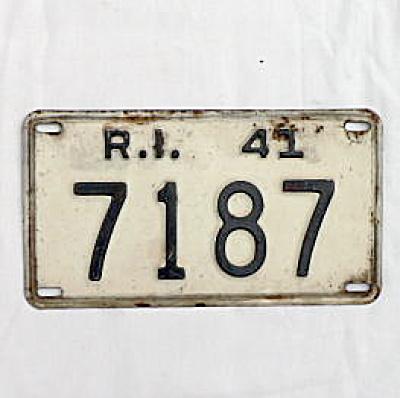 1941 Rhode Island License Plate #7187 (Image1)