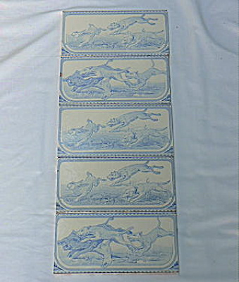 Set of 5 Blue White Antique Tiles with Hunting Animals (Image1)