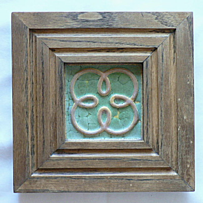Matte Green Framed Wheatley Pottery Tile