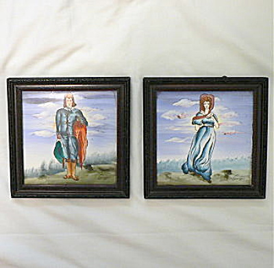 Pair of hand painted framed tiles (Image1)