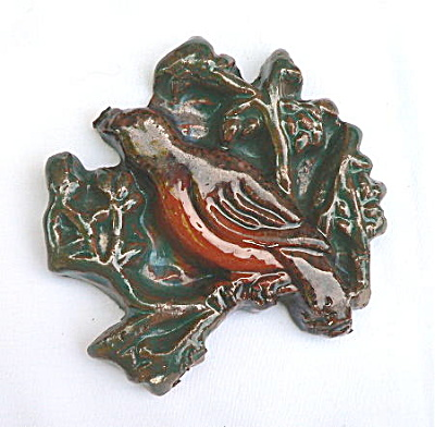 Vintage Moravian Brocade tile with Bird (Image1)