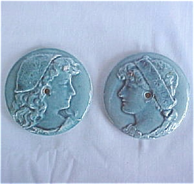 Matching Pair of Blue Portrait Antique Stove Tiles (Image1)