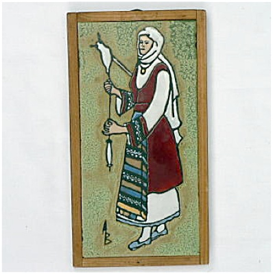 Scenic Signed Tile - Woman Spinning Yarn (Image1)