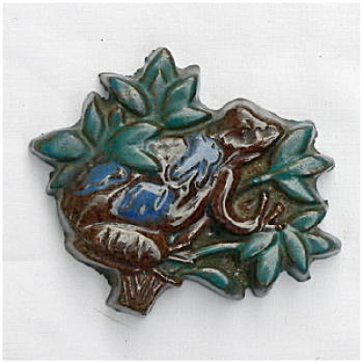 Moravian Frog In Tree Brocade Tile