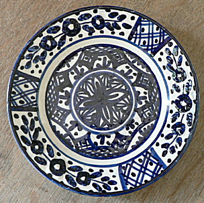 Signed Spanish Talavera Plate Blue and White (Image1)