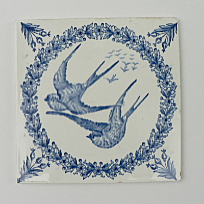 Longwy Aesthetic Movement Tile With A Pair Of Swallows