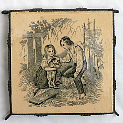 Boy and Girl with Puppy Antique Tile (Image1)