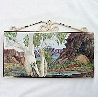 Pilkington Hand Painted Tile - Mountain Lake Scene (Image1)