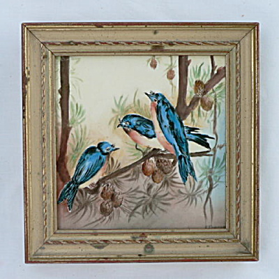 Antique Hand Painted Tile Bluebirds (Image1)
