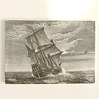 1910 Wedgwood Calendar Tile Mayflower Ship (Image1)