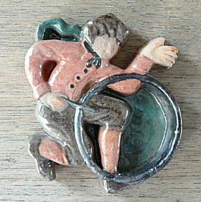 Moravian Brocade Tile Man With Hoop