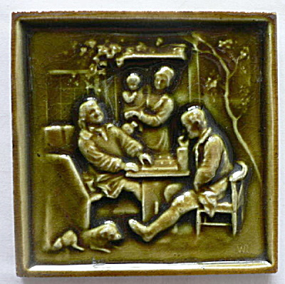 Signed Antique Tile with Family Scene (Image1)