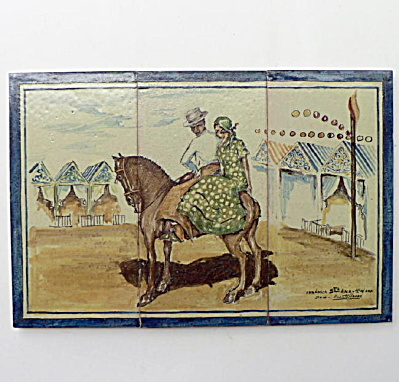 Spanish Tile Panel #1 Signed Vicente Flores