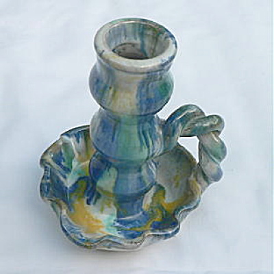 Rope Handle Candlestick Southern Folk Pottery - #2 (Image1)