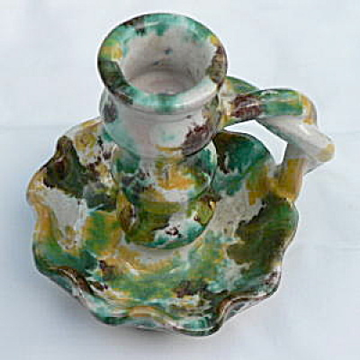 Rope Handle Candlestick Southern Folk Pottery (Image1)